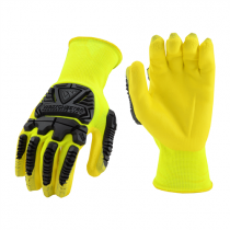R2™ Hi-Vis Seamless Knit Polyester Glove with Impact Protection and Nitrile Coated Foam Grip on Palm & Fingers  (#HVY713NFB)
