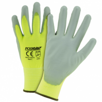 PosiGrip® Hi-Vis Seamless Knit Polyester Glove with Polyurethane Coated Smooth Grip on Palm & Fingers-Touch Screen Compatible  (#HVY713SUTS)