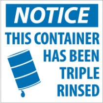 Notice This Container Has Been Triple Rinsed Label (#HW24)