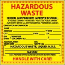 New Jersey Hazardous Waste Label (#HW17)