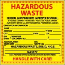 Hazardous Waste Label, Solid (#HW8S)