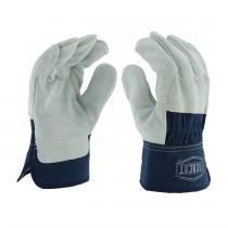 Ironcat® Ironcat® Premium Split Cowhide Leather Palm Glove with 3/4 Leather Back - Rubberized Safety Cuff  (#IC65)