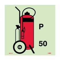 Symbol Fire Extinguisher Powder Wheeled IMO Label (#IMO121)