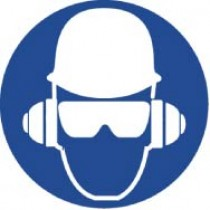 Wear Head, Hearing, & Eye Protection ISO Label (#ISO211AP)