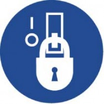 Lockout in De-Energized State ISO Label (#ISO218AP)