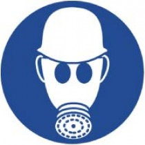 Wear Respiratory & Head Protection ISO Label (#ISO412AP)