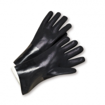 Standard Rough PVC Jersey Lined Black Gloves (#J1027RF)