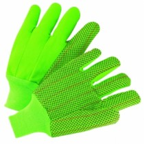 Hi-Vis PVC Dot Corded Double-Palm Green Gloves (#K81SCNCGRIPD)