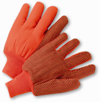 PIP® Hi-Vis Cotton / Polyester Double Palm Glove with Nap-in Finish and PVC Dot Grip on Palm, Thumb and Forefinger - Knitwrist  (#K81SCNCORIPD)