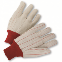 Cotton Corded Double-Palm Gloves Red Knit Wrist (#K81SCNCRI)