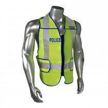 Breakaway Standard Police Safety Vest, Blue Trim (#LHV-207DSZR-POL)