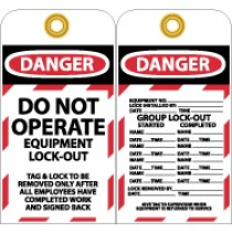 Do Not Operate Equipment L/O Tag (#LOTAG12)