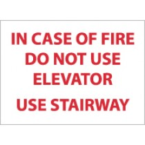In Case Of Fire Do Not Use Elevator Use Stairway Sign (#M100RB)