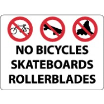 No Bicycles Skateboards Rollerblades Security Sign (#M106)