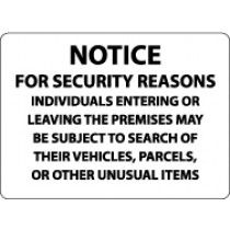 Notice For Security Reasons Individuals Entering Or Leaving… Security Sign (#M111)
