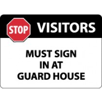 Visitors Must Sign In At Guard House Security Sign (#M118)