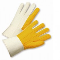 PIP® Cotton Chore Glove with Double Layer Palm, Canvas Back and Nap-out Finish - Rubberized Gauntlet Cuff  (#M18G)