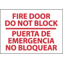 Fire Door Do Not Block Spanish Sign (#M436)