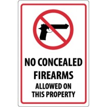 No Concealed Firearms Allowed On This Property Security Sign (#M451)