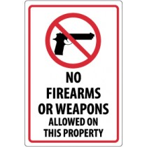 No Firearms Or Weapons Allowed On This Property Security Sign (#M452)