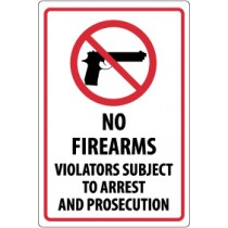 No Firearms Violators Subject To Arrest And Prosecution Security Sign (#M453)