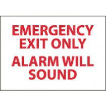 Emergency Exit Only Alarm Will Sound Sign (#M85)