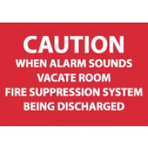 Caution When Alarm Sounds Vacate Room… Sign (#M96R)