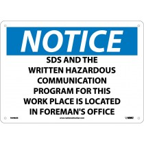 Notice SDS Information Located Here Sign (#N498)