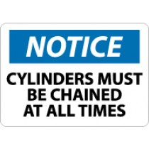 Notice Cylinders Must Be Chained At All Times Machine Label (#N49AP)
