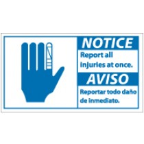 Notice Report All Injuries At Once Spanish Sign (#NBA2)