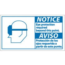 Notice Eye Protection Required Beyond This Point Spanish Sign (#NBA7)