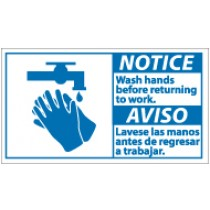 Notice Wash Hands Before Returning To Work Spanish Sign (#NBA8)