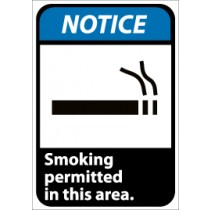 Notice Smoking permitted in this area ANSI Sign (#NGA3)