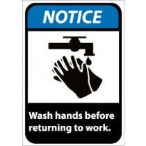 Notice Wash hands before returning to work ANSI Sign (#NGA7)