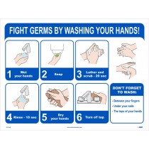 FIGHT GERMS BY WASHING YOUR HANDS POSTER (#PST138)