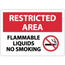 Restricted Area Flammable Liquids No Smoking Sign (#RA10)