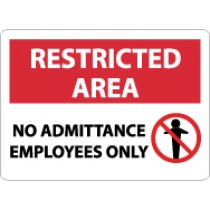 Restricted Area No Admittance Employees Only Sign (#RA16)