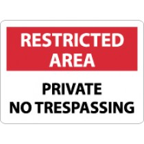 Restricted Area Private No Trespassing Sign (#RA26)