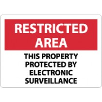 Restricted Area This Property Protected By Electronic Surveillance Sign (#RA28)