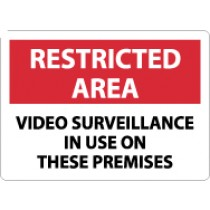 Restricted Area Video Surveillance In Use On These Premises Sign (#RA30)