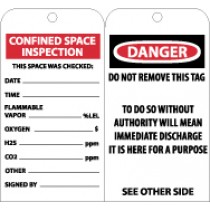 Confined Space Inspection Tag (#RPT101)