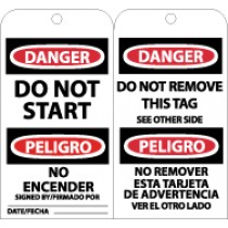 Danger Do Not Start Bilingual Tag (#RPT103)