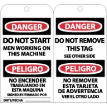 Danger Do Not Start Men Working On Machine Bilingual Tag (#RPT104)