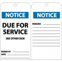 Notice Due For Service See Other Side Tag (#RPT107)