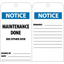 Notice Maintenance Done See Other Side Tag (#RPT108)