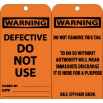 Warning Defective Do Not Use Tag (#RPT130)