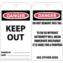 Danger Keep Out Tag (#RPT143)