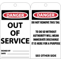 Danger Out Of Service Tag (#RPT146)