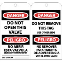 Danger Do Not Open This Valve Bilingual Tag (#RPT151)