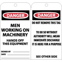 Danger Men Working On Machinery Hands Off This Equipment Tag (#RPT31)